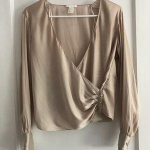 H&M Satin long sleeved blouse